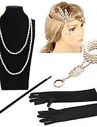 abordables -Gatsby le magnifique Rétro / Années 20 Costume Femme Bandeau Garçonne Coiffure Collier de perles Noir / Or + Noir / Noir / Blanc Vintage Cosplay Imitation de perle Déguisement d'Halloween
