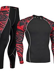 economico -Nuckily Per uomo Manica lunga Maglia intima da ciclismo - Rosso / Blu Bicicletta Set di vestiti, Asciugatura rapida Poliestere, Elastene Geometria