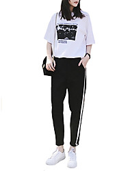 cheap -Women's Sexy Tracksuit - White Sports Print Tee / T-shirt / Pants / Trousers Yoga, Running, Fitness Activewear Comfortable Micro-elastic