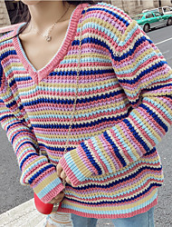 cheap -women's long sleeve pullover - rainbow / striped v neck