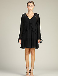 cheap -Women's Basic / Sophisticated Sheath / Little Black / Chiffon Dress Lace up