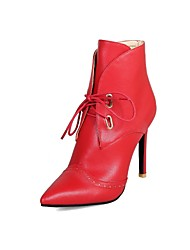 cheap -Women's Fashion Boots PU(Polyurethane) Spring &  Fall Classic Boots Stiletto Heel Pointed Toe Booties / Ankle Boots White / Black / Red / Wedding / Party & Evening