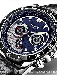 Недорогие -Муж. Нарядные часы Японский Кварцевый Нержавеющая сталь Натуральная кожа Черный / Серебристый металл 30 m Защита от влаги Календарь Секундомер Аналоговый Роскошь Классика Мода -  / Два года