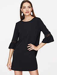 cheap -Women's Flare Sleeve Cotton A Line Dress - Solid Colored Pleated / Spring
