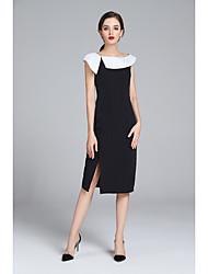 economico -Per donna A tunica Vestito Medio In bianco e nero