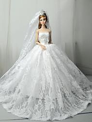 billiga -Bröllop Klänningar För Barbiedocka Spets / Satin Klänning För Flicka Dockleksak