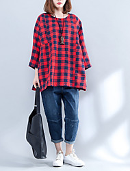cheap -Women's Shirt - Houndstooth / Plaid Shirt Collar