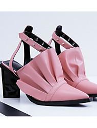 Недорогие -Жен. Обувь Овчина Весна & осень Удобная обувь Обувь на каблуках Гетеротипическая пятка Черный / Розовый