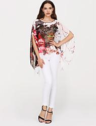 abordables -Mujer Chic de Calle Estampado Blusa De Gran Tamaño Floral Manga Murciélago