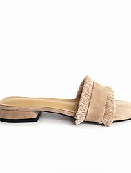 baratos -Mulheres Sapatos Camurça Primavera Verão Conforto Chinelos e flip-flops Sem Salto Preto / Amêndoa