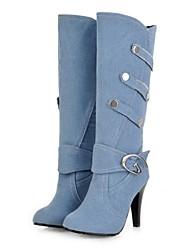 お買い得  -女性用 靴 デニム 秋冬 ファッションブーツ ブーツ スティレットヒール ポインテッドトゥ ミドルブーツ ブラック / ダークブルー / ライトブルー / パーティー