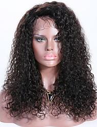 Недорогие -Необработанные Лента спереди Парик Бразильские волосы Волнистый Парик Боковая часть 150% Натуральный / новый / Толстые Черный Жен. Длинные Парики из натуральных волос на кружевной основе