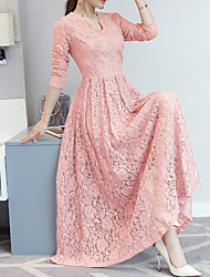 cheap -Women's Going out Vintage / Elegant Slim A Line / Sheath Dress - Solid Colored Lace Maxi V Neck