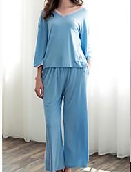 abordables -Mujer Escote en V Profunda Traje Pijamas Un Color