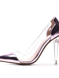 baratos -Mulheres Sapatos transparentes Microfibra / Sintéticos Primavera Verão Formais Saltos Salto Alto de Cristal Dedo Apontado Dourado / Prata / Rosa claro / Festas & Noite / Estampa Colorida