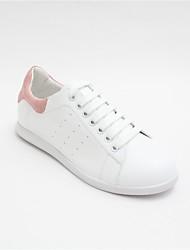 billige -Dame Sko Nappalæder Forår sommer Komfort Sneakers Flade hæle Sort / Lys pink
