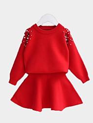 Недорогие -Дети Девочки Классический Однотонный Длинный рукав Набор одежды Розовый