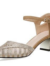 Недорогие -Жен. Обувь Синтетика Лето Туфли д'Орсе Сандалии На толстом каблуке Золотой / Черный