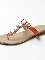 Недорогие -Жен. Наппа Leather Весна лето Удобная обувь Тапочки и Шлепанцы На плоской подошве Белый / Черный / Оранжевый