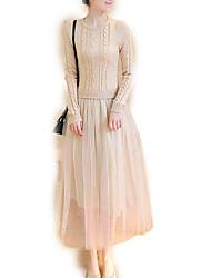 baratos -Mulheres Para Noite Tricô Vestido Médio