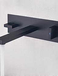 abordables -Baño grifo del fregadero - Separado / Nuevo diseño Negro Colocado en la Pared Dos manijas de un agujero
