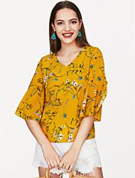 abordables -Mujer Blusa, Escote en Pico Floral / manga de la llamarada / Patrones florales