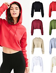 cheap -Women's Pullover Sexy / Cropped Hoodie & Sweatshirt - Grey, Khaki, Burgundy Sports Solid Color Top Running, Fitness, Workout Long Sleeve Activewear Breathable, Soft, Sweat-wicking Inelastic