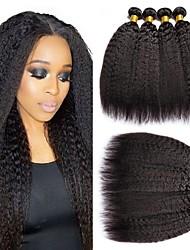 Недорогие -6 Связок Перуанские волосы Яки 8A Натуральные волосы Человека ткет Волосы Пучок волос One Pack Solution 8-28 дюймовый Естественный цвет Ткет человеческих волос Машинное плетение Лучшее качество 100