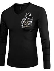 billige -V-hals Herre - Ensfarvet T-shirt / Langærmet