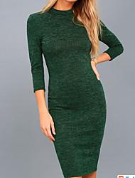 baratos -Mulheres Para Noite Básico Algodão Delgado Tricô Vestido Sólido Gola Redonda Altura dos Joelhos