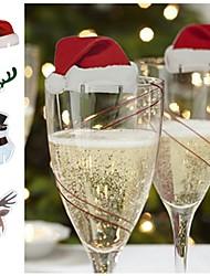 economico -bandiera di vetro di Natale bandiera cappello di Natale stuzzicadenti bandiera cibo decorazione ornamenti natalizi