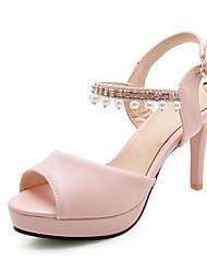 cheap -Women's Pumps Leather Spring Sandals Stiletto Heel Open Toe Pink