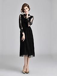 cheap -Women's Elegant Flare Sleeve Sheath Dress Lace