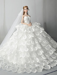 Недорогие -Платья Платье Для Barbiedoll Молочно-белый Тюль / Кружево / Шелково-шерстяная ткань Платье Для Девичий игрушки куклы