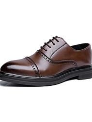 Недорогие -Муж. Кожа Весна & осень Формальная обувь Туфли на шнуровке Черный / Коричневый / Темно-коричневый / Для вечеринки / ужина