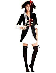 Недорогие -Пираты Карибского моря Костюм Жен. Взрослые Хэллоуин Рождество Хэллоуин Карнавал Фестиваль / праздник Инвентарь Черный Однотонный Halloween