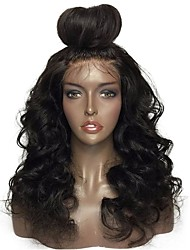cheap -Virgin Human Hair Lace Front Wig Peruvian Hair Wavy Wig Layered Haircut 130% With Baby Hair / Natural Hairline Black Women's Long Human Hair Lace Wig