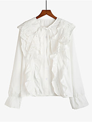 cheap -Women's Vintage Shirt - Solid Colored / Floral / Color Block Cut Out / Ruffle / Lace up