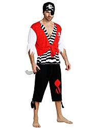 cheap -Pirates of the Caribbean Pirate Costume Men's Halloween Carnival Masquerade Festival / Holiday Halloween Costumes Outfits Black Solid Colored Striped Halloween Halloween