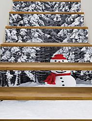 baratos -Autocolantes de Parede Decorativos - Autocolantes 3D para Parede / Muro de férias Adesivos Natal / Floral / Botânico Quarto de Estudo / Escritório / Quarto das Crianças