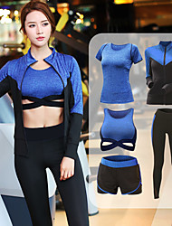 cheap -Women's Criss Cross Front Tracksuit - Gray, Fuchsia, Blue Sports Color Block Spandex Sports Bra / Jacket / Tee / T-shirt Running, Fitness, Dance Activewear Anatomic Design, Breathable, Sweat-wicking