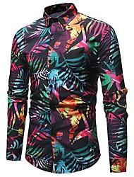 Недорогие -Муж. С принтом Рубашка Хлопок Классический Контрастных цветов Цвет радуги / Длинный рукав