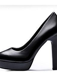 cheap -Women's Nappa Leather Spring Basic Pump Heels Stiletto Heel Black