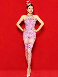 cheap -Dance Costumes Exotic Dancewear / Rhinestone Bodysuit Women's Performance Spandex Split Joint / Crystals / Rhinestones Sleeveless Natural Leotard / Onesie