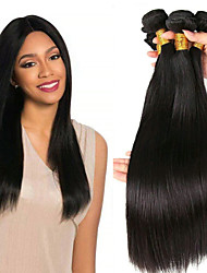 Недорогие -3 Связки Индийские волосы / Африканские косы Прямой Необработанные / Натуральные волосы Подарки / Человека ткет Волосы / Сувениры для чаепития 8-28 дюймовый Естественный цвет Ткет человеческих волос