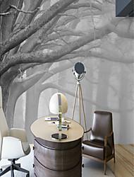 Недорогие -обои / фреска холст Облицовка стен - Клей требуется Деревья / Листья / Ар деко / 3D