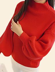 Недорогие -Жен. Повседневные Классический Однотонный Длинный рукав Обычный Пуловер, Круглый вырез Осень Красный / Серый / Хаки Один размер
