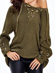 Недорогие -Жен. Классический Длинный рукав Тонкие Длинный Пуловер - Однотонный, Разорванный Глубокий V-образный вырез / Осень