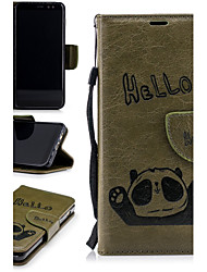 preiswerte -Hülle Für Samsung Galaxy A8 2018 / A6+ (2018) Geldbeutel / Kreditkartenfächer / mit Halterung Ganzkörper-Gehäuse Panda Hart PU-Leder für A6 (2018) / A6+ (2018) / A8 2018