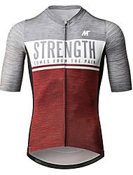 baratos -Mysenlan Homens Manga Curta Camisa para Ciclismo - Red + Cinza Moto Camisa / Roupas Para Esporte Poliéster / Zíper YKK